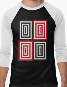Trippy red & black squared pattern Men's Baseball ¾ T-Shirt
