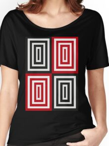 Trippy red & black squared pattern Women's Relaxed Fit T-Shirt