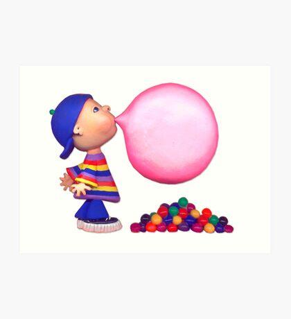 blowing a bubble Art Print