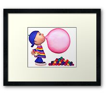 blowing a bubble Framed Print