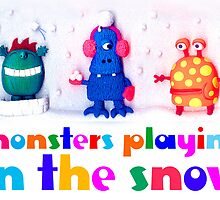 monsters playing in the snow by claygirrl