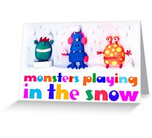 monsters playing in the snow Greeting Card