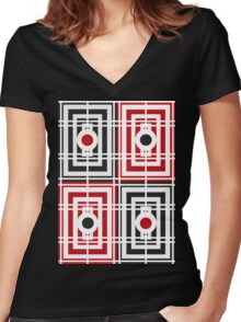 Trippy red & black squared pattern 2 Women's Fitted V-Neck T-Shirt