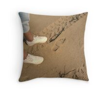 Tracks------------ On the Beach at Martha's Vineyard Throw Pillow