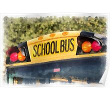 Back To School Bus Watercolor Poster