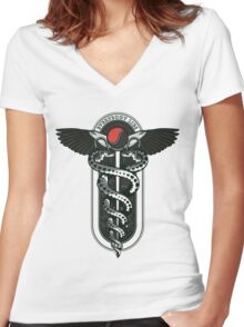Snakes on a Cane Women's Fitted V-Neck T-Shirt