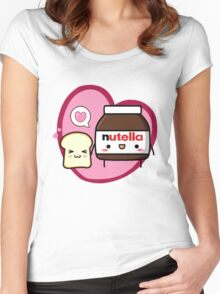 Kawaii Nutella and sandwich bread Women's Fitted Scoop T-Shirt