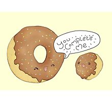 Kawaii Donut Chocolate - You Complete Me  Photographic Print