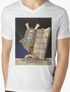 Moses with the Ten Commandments by Henry Schile (1874) Mens V-Neck T-Shirt