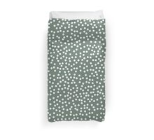 Cute Dark Gray Green and White Polka Dots Duvet Cover