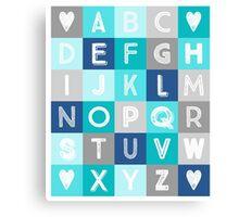 Blue Teal Grey Alphabet art decor pattern Canvas Print