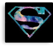 Watercolor Superman (black) Canvas Print