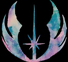Watercolor Jedi Order (black) by PeonyPaints