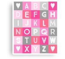 Pink grey Alphabet art decor pattern Canvas Print