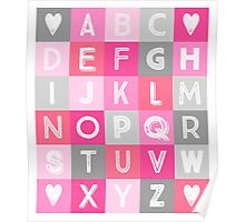 Pink grey Alphabet art decor pattern Poster