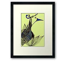 The jumping bird of the grass Framed Print