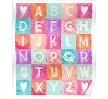 Colorful Watercolor patchwork Art Decor Pattern Poster
