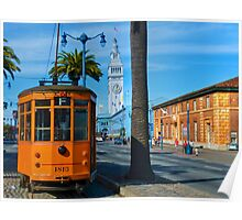 Old San Francisco Cable Car And Ferry Building Poster