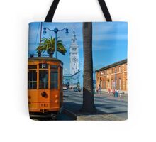 Old San Francisco Cable Car And Ferry Building Tote Bag