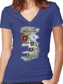 Map of MacVsog's area of operation. Women's Fitted V-Neck T-Shirt