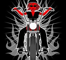 Red Hot Woman: Riding her Motorcycle by creativeburn