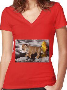 ☀ ツ UP IN THE CLOUDS WHAT DO I SEE A FIRE HYDRANT JUST WAITING FOR ME (SENDING EMAIL)CARD/PICTURE☀ ツ Women's Fitted V-Neck T-Shirt