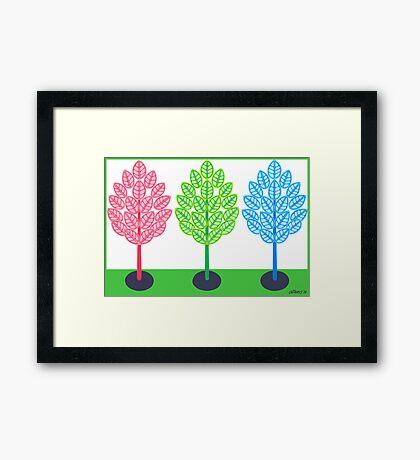 THREE TREES - BRUSH AND GOUACHE Framed Print