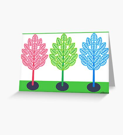 THREE TREES - BRUSH AND GOUACHE Greeting Card