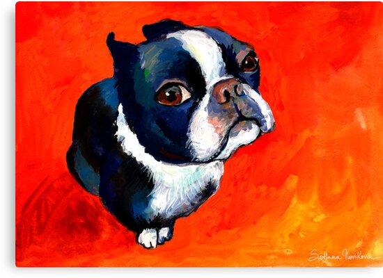 Boston Terrier dog #1 painting Svetlana Novikova by Svetlana  Novikova