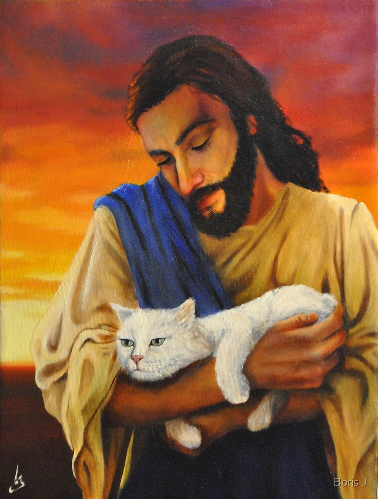 Jesus & cat by Boris J
