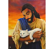 Jesus & cat Photographic Print