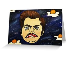 Galaxy Ron Swanson / Bacon and Eggs Greeting Card