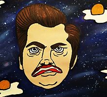 Galaxy Ron Swanson / Bacon and Eggs by haleyrhutchison