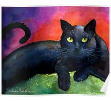 Black Cat Watercolor portrait Painting Svetlana Novikova Poster