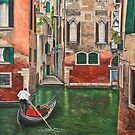 Water Taxi On Side Venice Canal by Charlotte  Blanchard