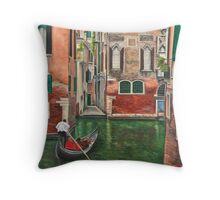 Water Taxi On Side Venice Canal Throw Pillow