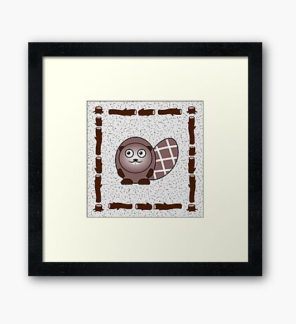 Little Cute Beaver Framed Print