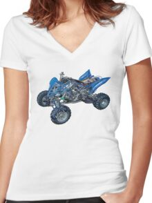Yamaha Raptor 700 R Cut Out Women's Fitted V-Neck T-Shirt