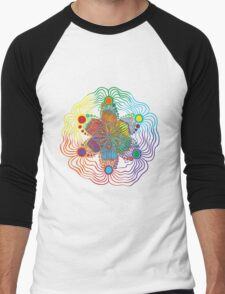 Six Color Red-Orange-Yellow-Green-Blue-Purple Men's Baseball ¾ T-Shirt