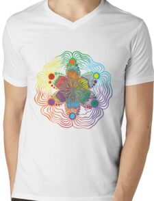 Six Color Red-Orange-Yellow-Green-Blue-Purple Mens V-Neck T-Shirt