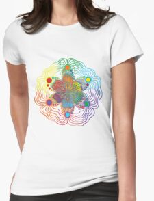 Six Color Red-Orange-Yellow-Green-Blue-Purple Womens Fitted T-Shirt