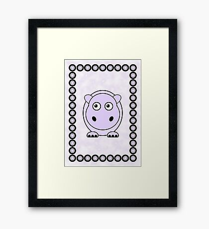 Little Cute Hippopotamus Framed Print