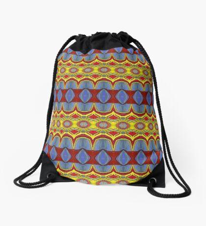 Pattern Blue Gold Orange Drawstring Bag