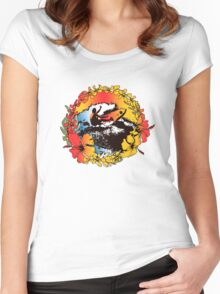 Groovy Hawaiian Surfer 1960s Retro Graphic - Navy & Red Women's Fitted Scoop T-Shirt