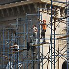 Scaffloders on a Break, Mumbai, India by RIYAZ POCKETWALA
