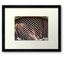 Wall of the building covered wooden planks crosswise Framed Print