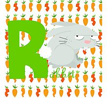 r for rabbit Photographic Print