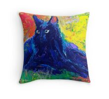 Impressionistic Black Cat painting Svetlana Novikova Throw Pillow