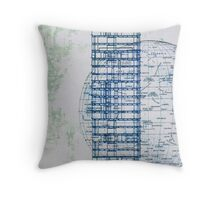 A blue moon rises as the building scrapes the sky Throw Pillow