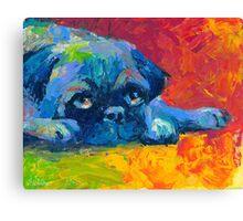 Impressionistic Pug dog portrait Svetlana Novikova Canvas Print